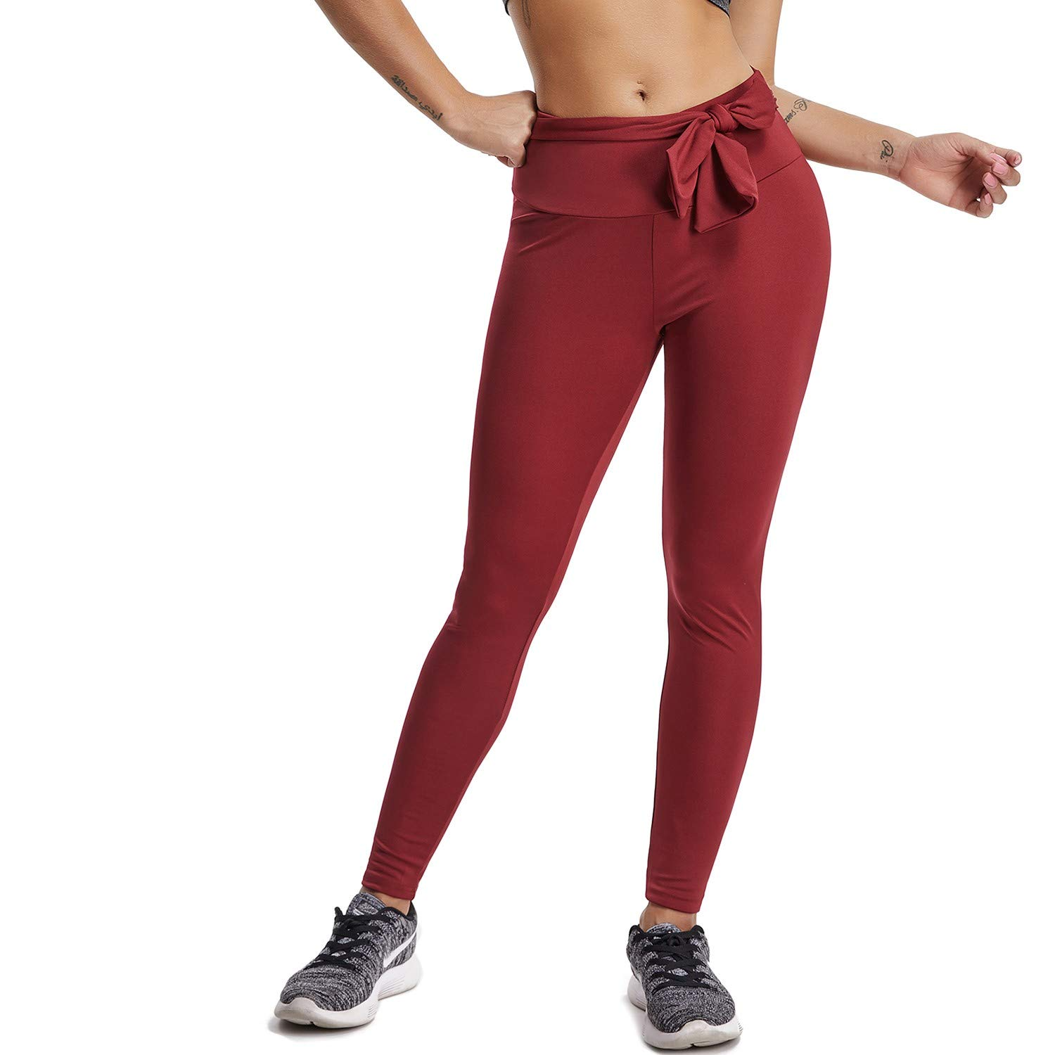 CFR Fitness Leggings Womens Ruched Butt High Waist Back Tie Workout Yoga Tights