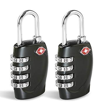 TSA Candados Maleta, Candado Homologado Equipaje de Seguridad [2 Pack] CFMOUR Combinación de 4 dígitos Con Indicador para Maletas de Viaje Mochila - Negro: ...