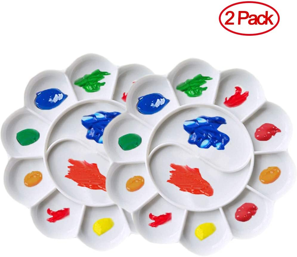 White 2PCS Flower Shape Paint Tray Palettes Plastic to Acrylic Oil Watercolor Craft DIY Art Painting Palettes for Kid,Adult,Student