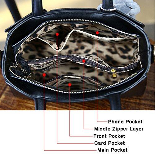 Sacchetti di cuoio dell'animale dell'orso della peluche di Yoome per i sacchetti di cuoio della parte superiore delle ragazze Sacchetti di cuoio di Vegan per il college - Nero