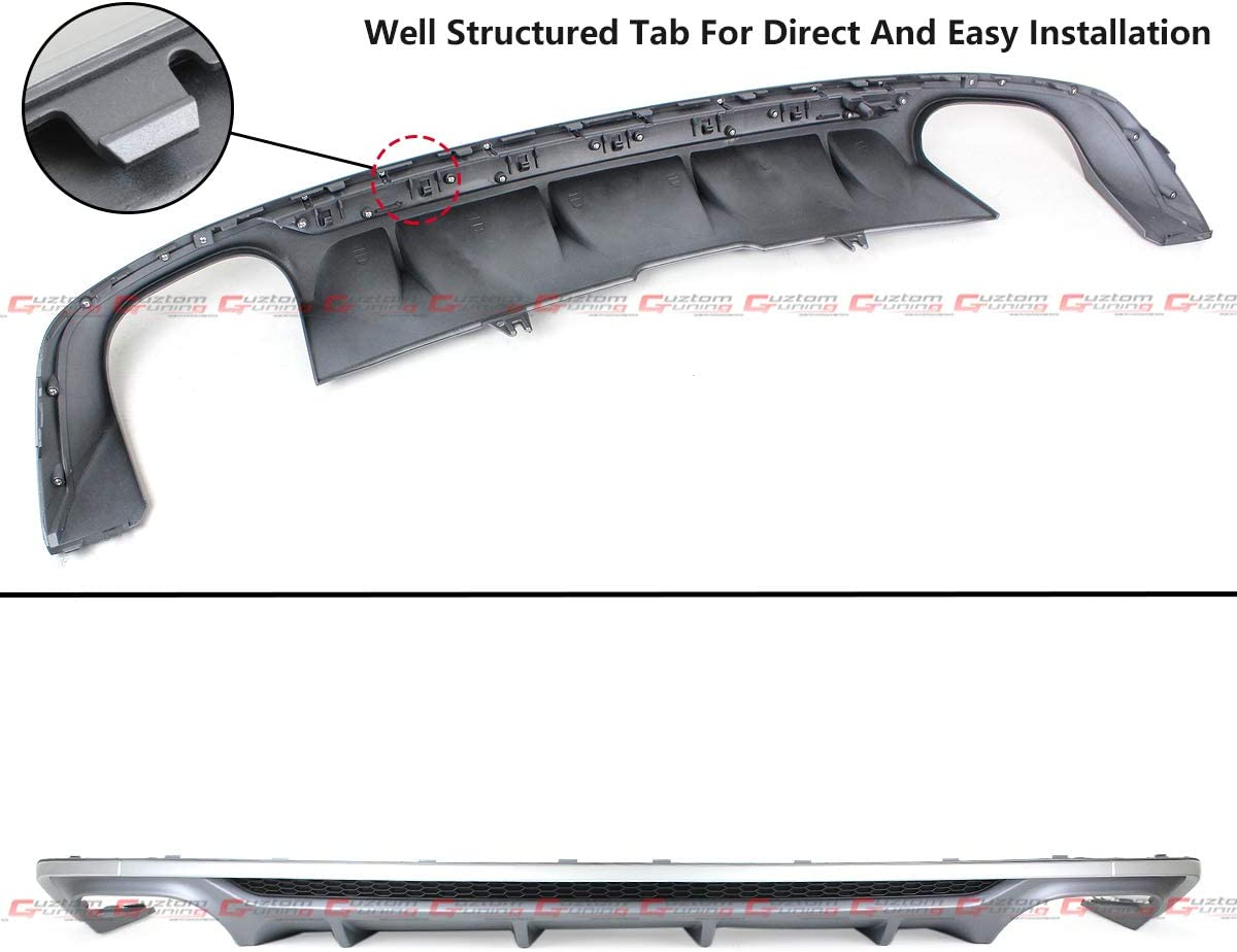 Fits for 2018-2019 Audi A5 SLINE 2//4 Door B9 S5 Style Quad Exhaust Tip Shark Fin Rear Bumper Diffuser Valance