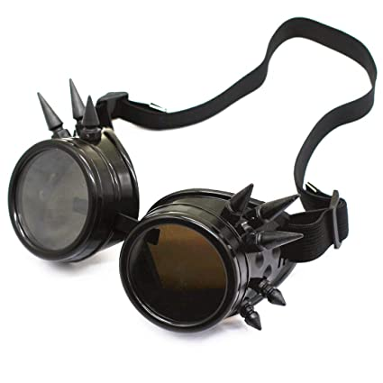 e3aa4eb1c65 Glasses KING Vintage Spiked Steampunk Goggles Cosplay Goggles With Elastic  Band Retro Victorian Cosplay Steampunk Goggles(Black) - - Amazon.com