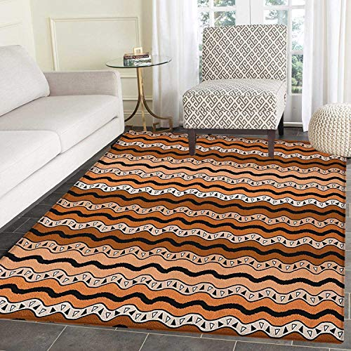 Zambia Print Area Rug Tribal Pattern with Wavy Lines Geometric Triangles Kenyan Art Design Indoor/Outdoor Area Rug 4'x5' Cinnamon Pale Brown Black