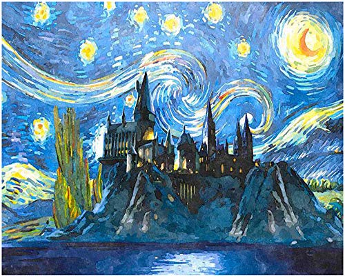 """Adult Hand Painted Kits Paint Oil Paint DIY Painting By Numbers-Rotating Starry Castle 16""""x20"""" (Frameless) from Fanjian"""