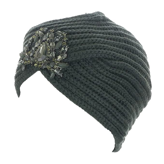 Womens Knit Jewel Accent Ribbed Beanie Turban Charcoal Grey