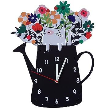 CXZS Reloj de Pared Tienda de Ropa de Flores Reloj de Pared Creativo Lindo Sala de