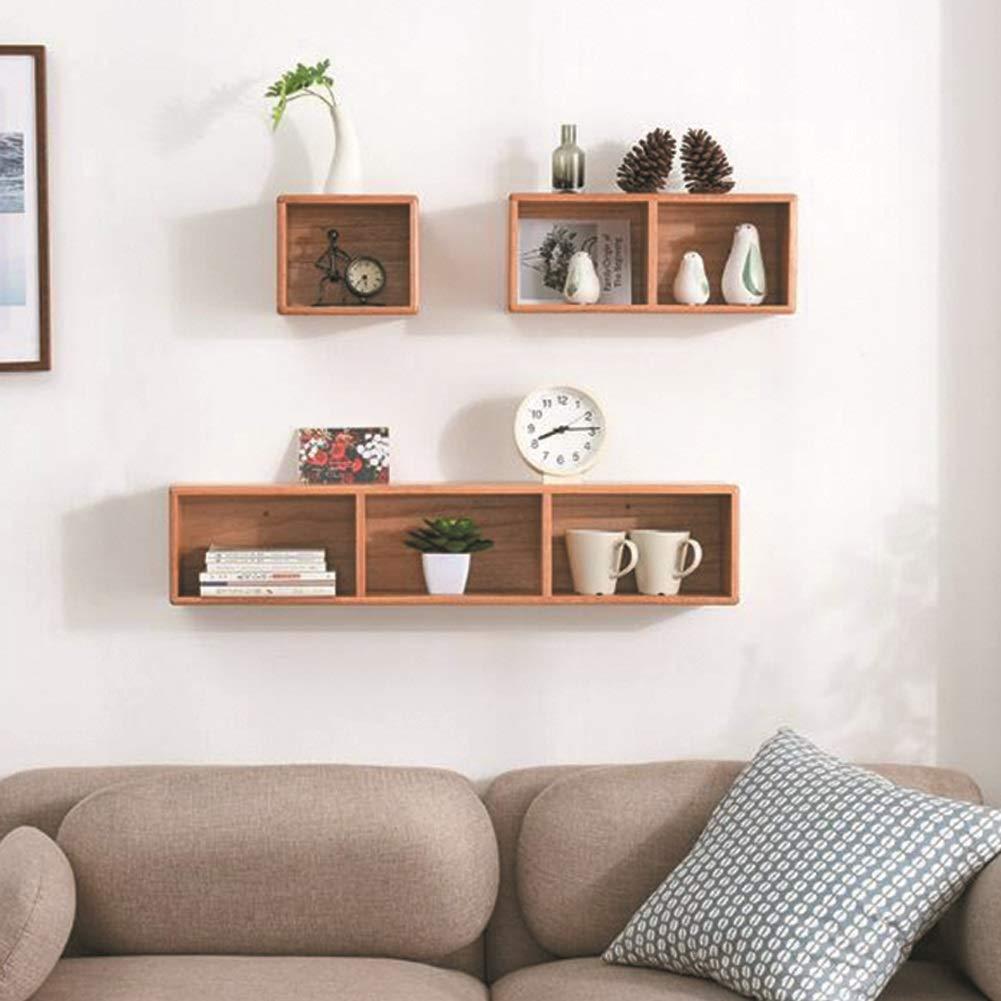 YQQ-棚 ウォールシェルフマルチグリッド収納ラックウォールラック木製ウォールシェルフリビングルームの装飾本棚ホームストレージ&組織 B07SJ66LT9