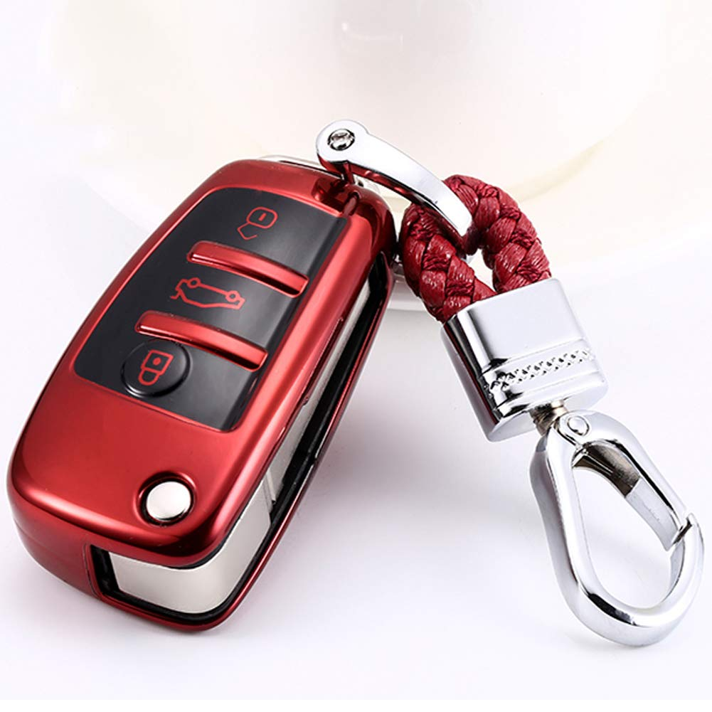 TurningMax Keyless Entry Remote Cases Key Fob Cover with Keychain Full Protection Soft TPU Holder Shell for 3 Button Lip Key for Audi A3 A4 A6 A6L A8 TT Q7 S6 Silver etc