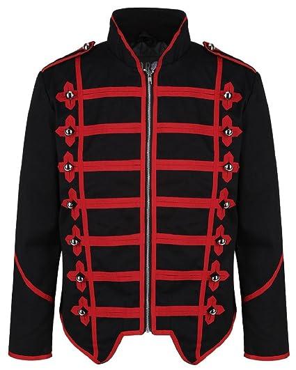 29109adcfe Ro Rox Men s Black Red Punk MCR Military Drummer Parade Jacket - (Men s ...