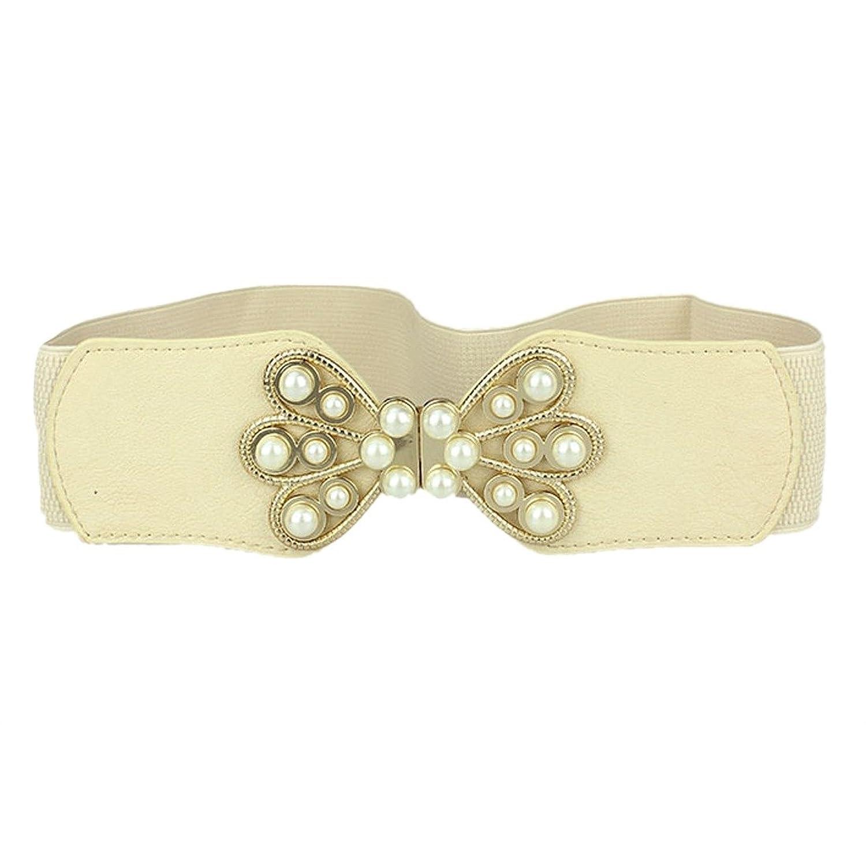 New women Korea Girl Pearl Buckle Belt Wide Elastic Stretch Casual Waist belt