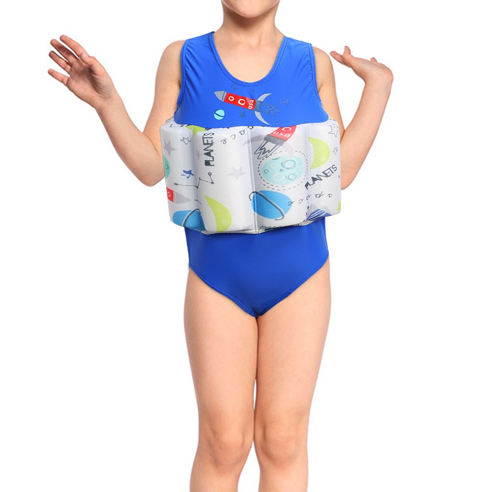 DAXIANG Niños bebé niña flotante flotabilidad Swimsuit Swimwear flotador flotante nadar entrenador de impresión de una sola pieza, diseño de tiburón, ...