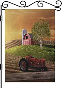 AOYEGO Red Barn and Tractor Garden Yard Flag 12.5