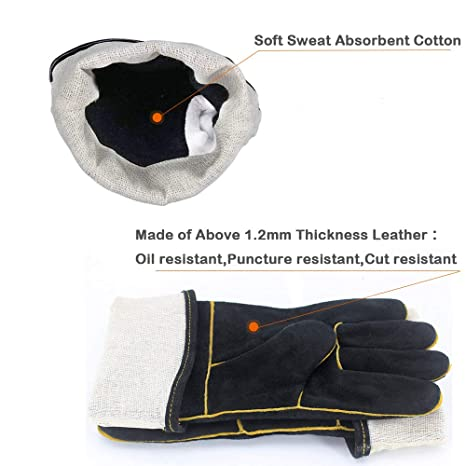 d205b35aa07f6 Welding Gloves HEAT RESISTANT Cow Split Leather BBQ/Camping/Cooking Gloves  Baking Grill Gloves Welder Fireplace Stove Pot Holder WorkPlace Glove - -  Amazon. ...