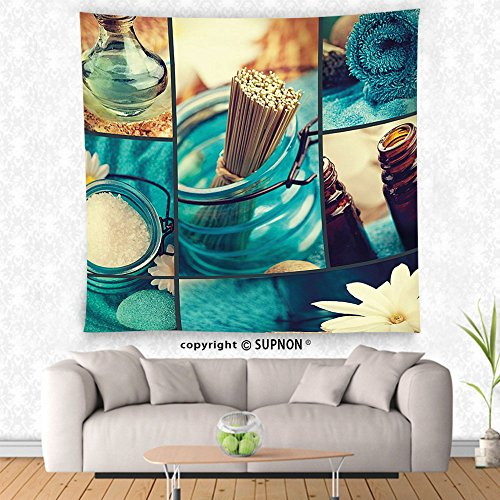 Pisces Incense (VROSELV custom tapestry Spa Decor Tapestry Blue Themed White Daisies Scents Towels and Incense Artwork Collage Wall Hanging for Bedroom Living Room Dorm Blue Brown and White)