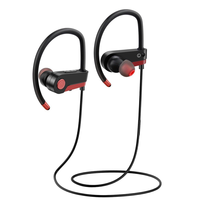 Bluetoothヘッドホン ワイヤレススポーツイヤホン 防水ステレオ 防汗イヤホン ジム ジョギング ワークアウト用 8時間バッテリー ノイズキャンセリングヘッドセット レッド   B07F28FQTR
