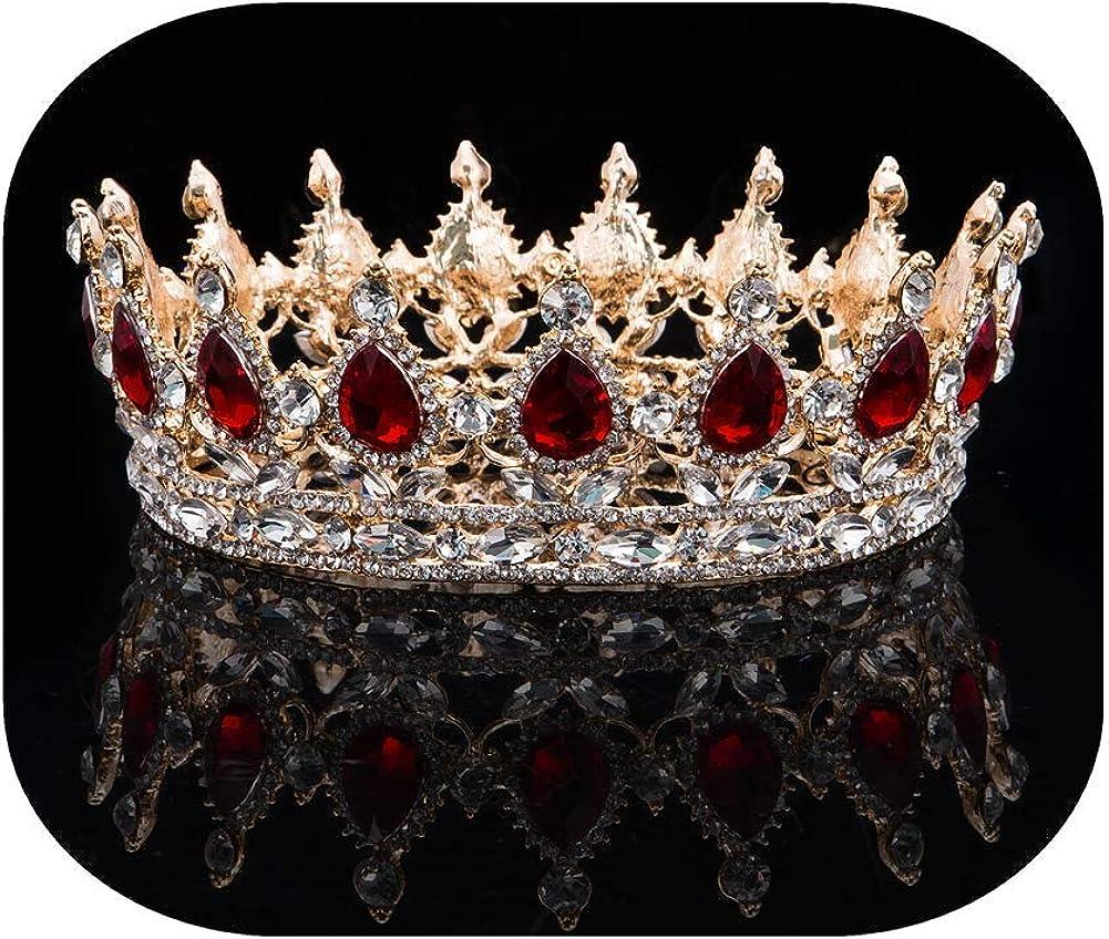 Full Bridal Crown Women's Crystal Rhinestone Decor Hair Pieces Tiaras Headband Headpiece Wedding Hair Accessories