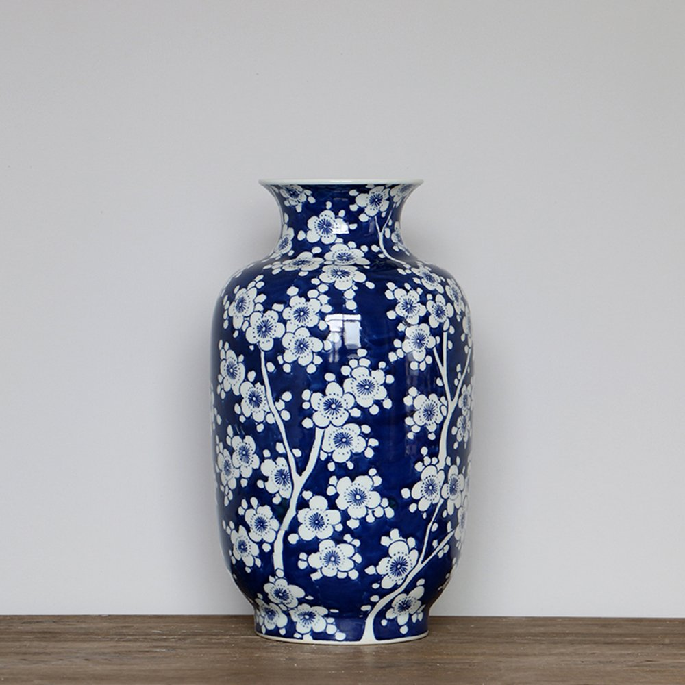 Blue and White Porcelain Vase (8.2 × 8.2 × 14.5 Inches, Blue and White 05)