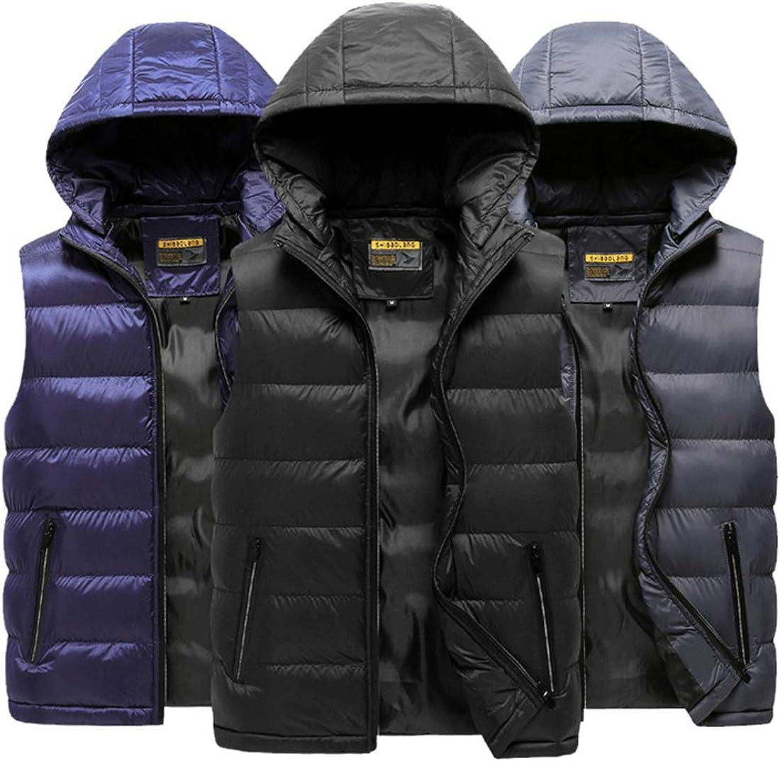 TeamWorld Mens Padded Down Gilets Men//Boys Autumn Hooded Sleeveless Down Vest Winter Lightweight Warm Jacket Coat Body Warmer Ideal for Outdoor