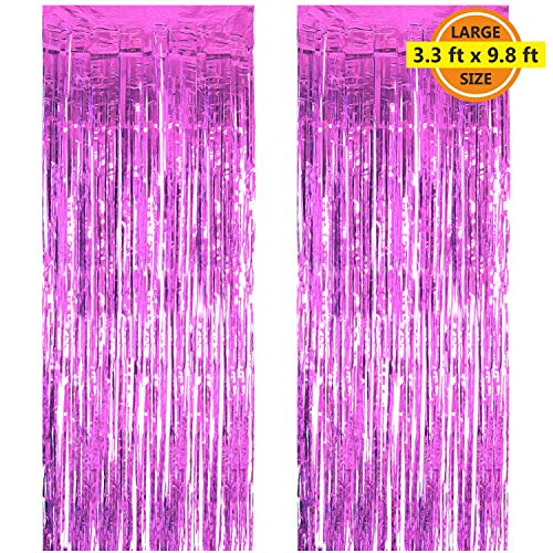Birthday Pink Shimmer - 2 Pack 3.3 ft x 9.8 ft Foil Curtains Metallic Fringe Curtains Shimmer Curtain Photo Backdrop for Halloween Christmas Birthday Party Wedding Decor (Pink)