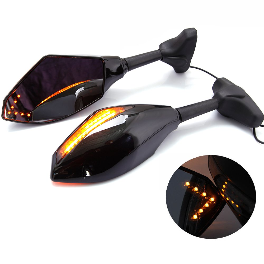 Moto Retrovisori Laterali Indicatori LED Luci per Kawasaki 2006-2011 ZX14/ZZR1400 Yamaha 2008-2016 YZF R6 - Nero Liscio + Lente Fumo Lady Outlet Mall