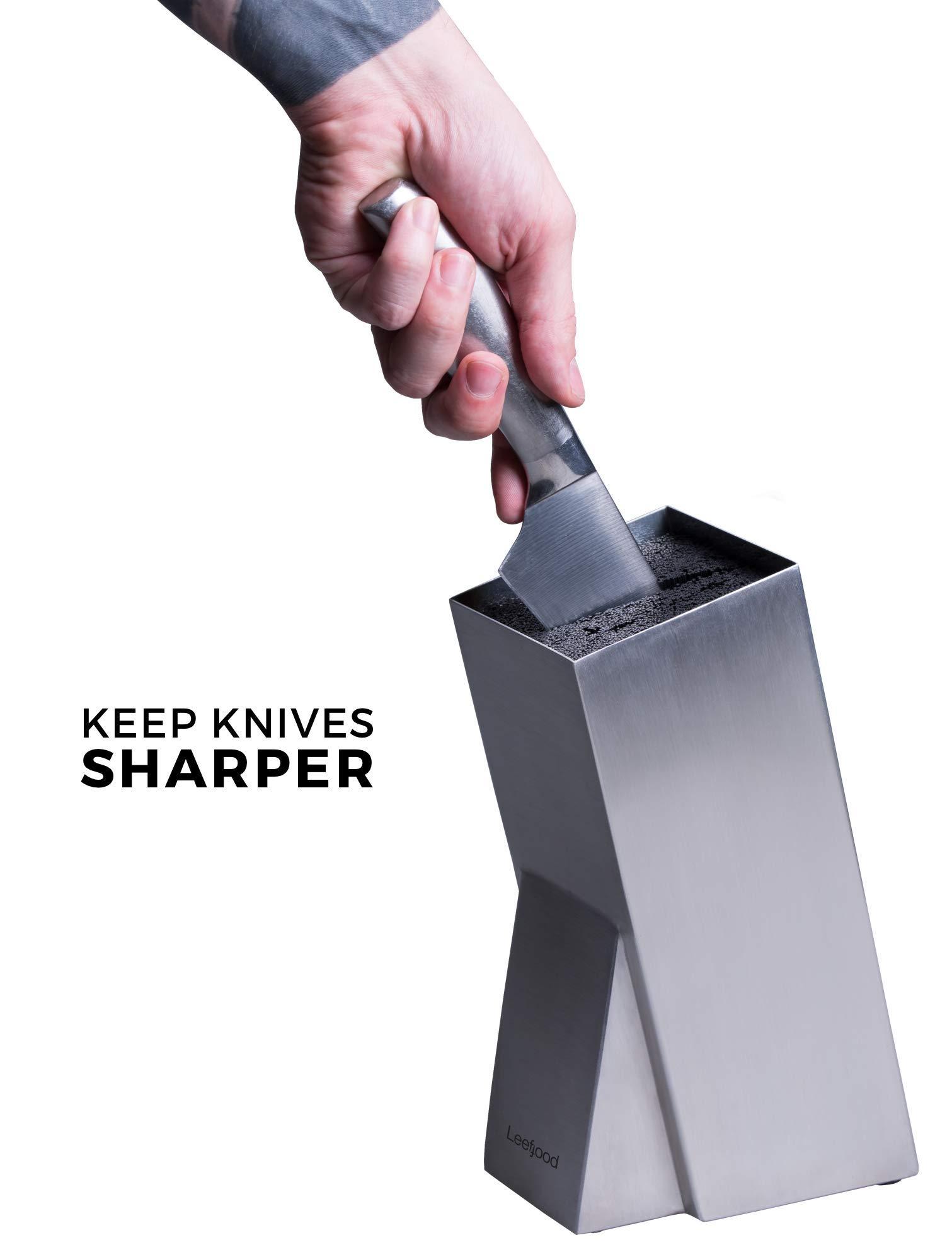 Universal Stainless Steel Knife Block Organizer – For Safe Kitchen Knife Holder Easy Clean Dishwasher Safe – Space Saver Knife Storage Stand by Leeffood (Image #3)