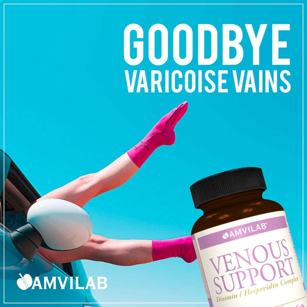 Amvilab Venous Support: Diosmin 450mg Hesperidin 50mg Complex, Daily Supplement Helps Support Healthy Circulation and Hemorrhoids Relief and Helps the Appearance of Varicose and Spider Veins - One Mon: Health & Personal Care