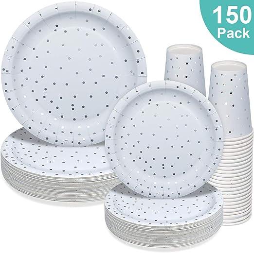 Amazon.com: Platos de papel, vasos de fiesta, platos de cena ...