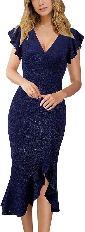 VFSHOW Womens Elegant Ruffles Cocktail Party Mermaid Wiggle Midi Dress