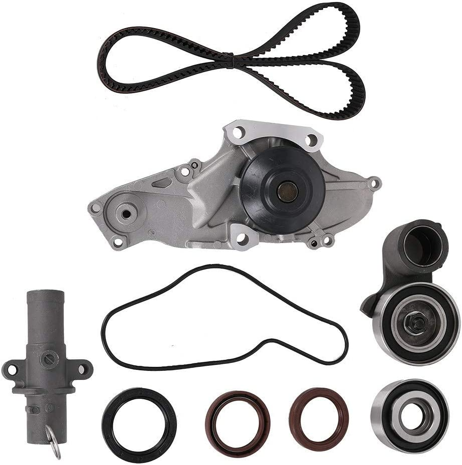 Engine Timing Belt Kit with Water Pump for 2003-2017 Honda Accord Crosstour Pilot Odyssey Ridgeline Acura MDX RDX RL TL TSX ZDX Replace # TCKWP329 TKH-002 TKH002