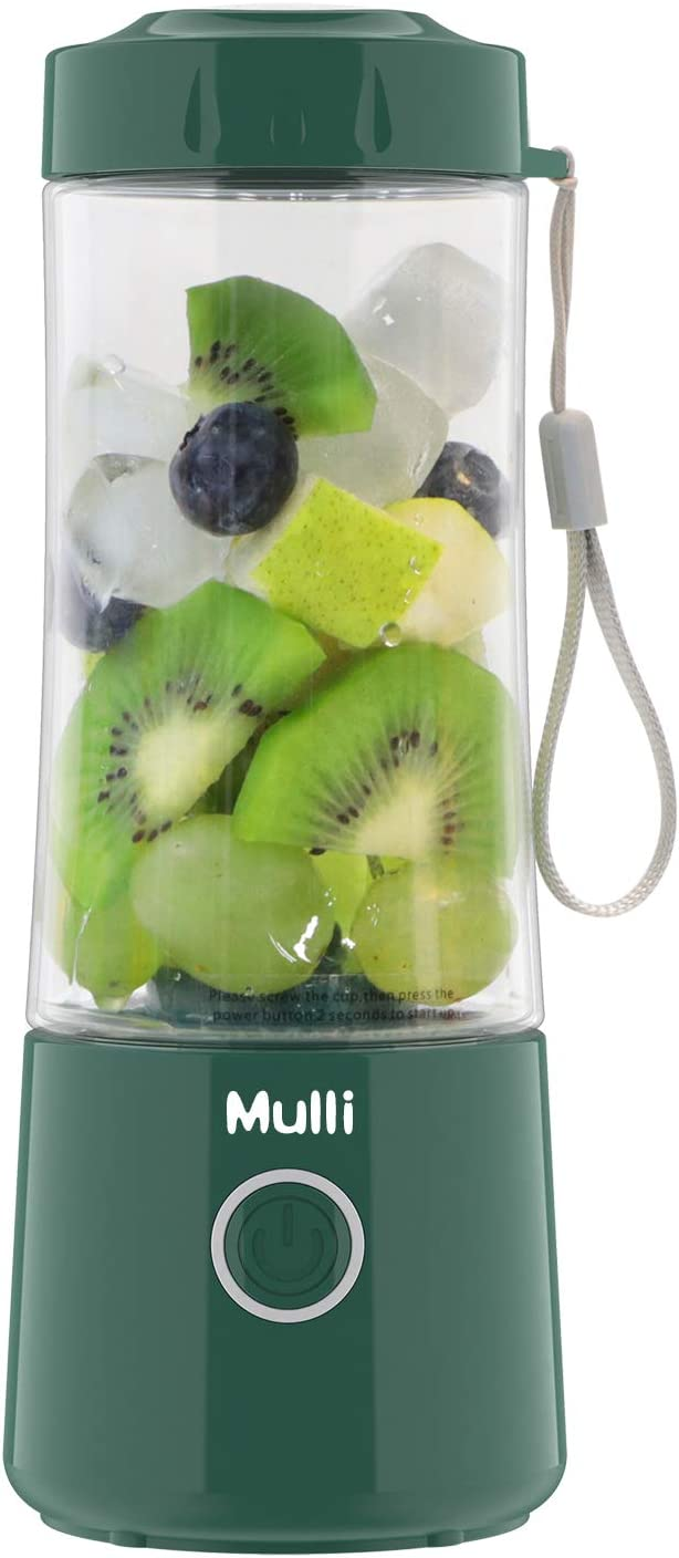 Mulli Portable Blender,Usb Rechargeable Personal Mixer for Smoothie and Shakes, Mini Blender with Six Blades,4000mAh for Baby Food,Travel,Gym (Green)