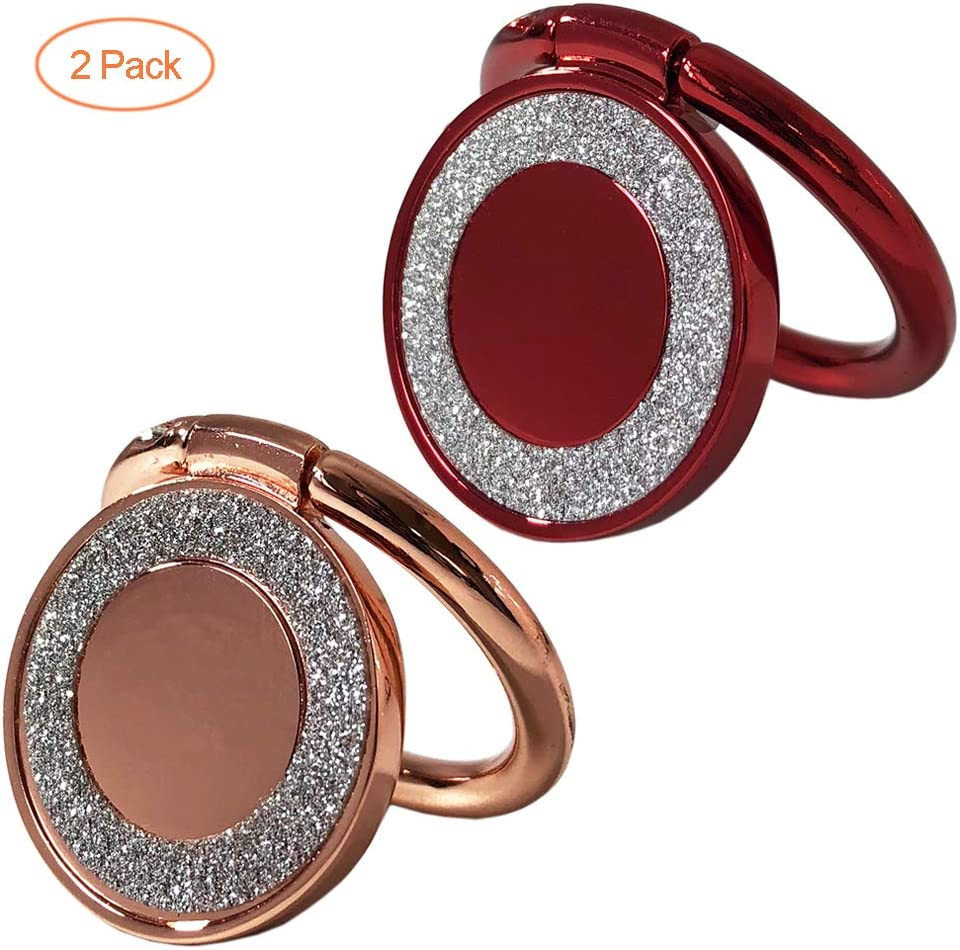 Cell Phone Ring Holder 2-Pack with Glitter Cute Bling Diamond for Girls//Women WENSUNNIE 360/°Rotation Finger Ring Grip Stand Compatible with iPhone X XR XS Max 8 S9 S8 S7 Rose Gold+Red