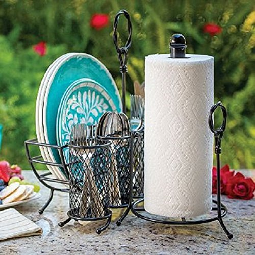 3 Piece Loop Handle Picnic Caddy for Picnics, Patios and Buffets