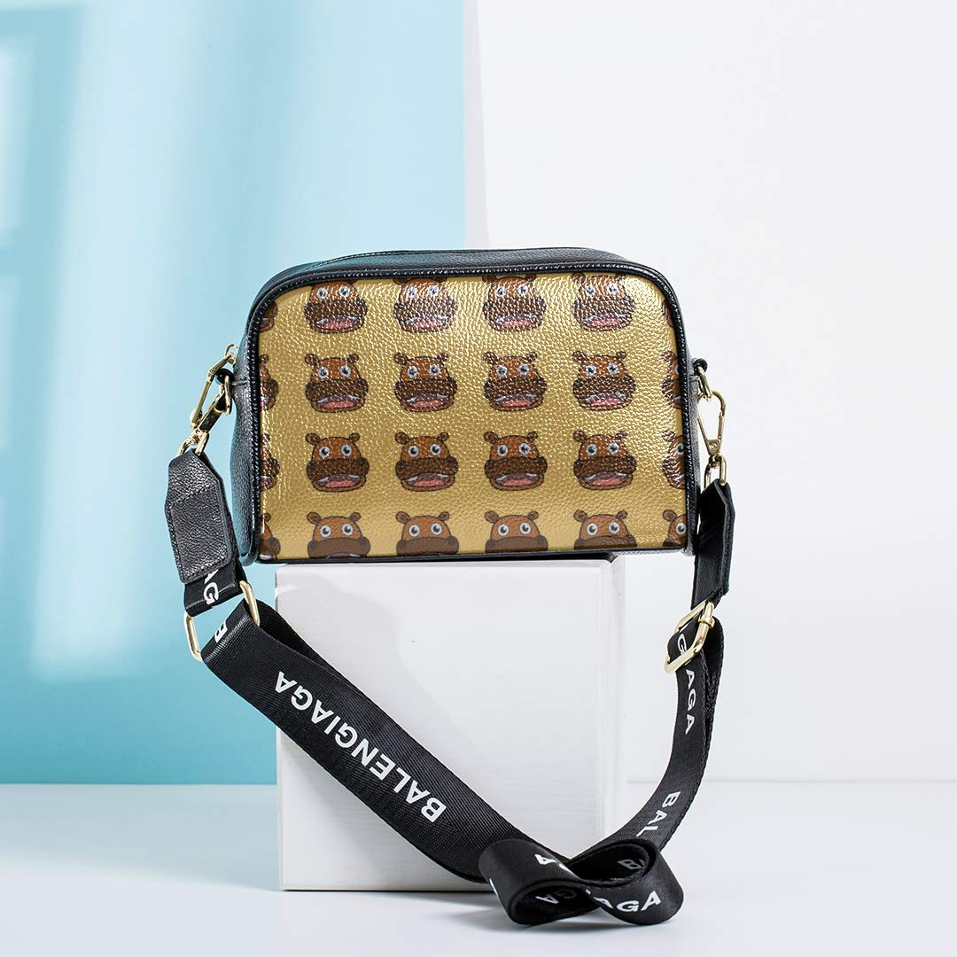 Cute Cartoon Hippopotamus Crossbody Messenger Bags For Girls Fashion Show Bag With Adjustable Long Strap Shoulder Bag For Teens Fashion Travel Bag Shoulder Handbags