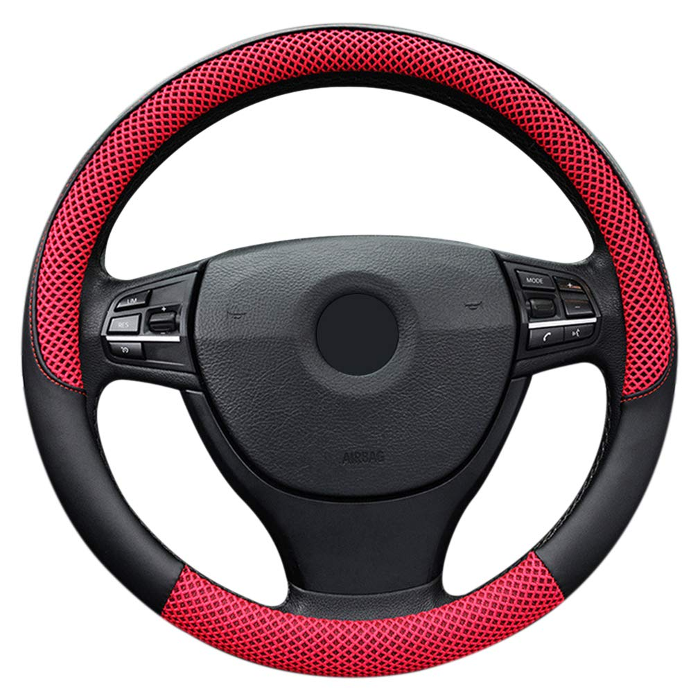 """LucaSng Black Microfiber Leather and Ice Silk Fabrics Car Steering Wheel Cover Fit 13.97/""""-14.17/"""""""