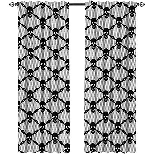 Returiy Gothic, Curtains Room Darkening, Halloween Horror Theme Spooky Black Skulls Checkered Pattern with Skeleton Bones, Curtains Kids Bedroom, W108 x L108 Inch, Black -