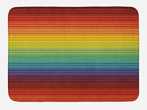 Lunarable Striped Bath Mat, Mexican Knitting Pattern Inspired Vibrant Colored Chevron Latin American Culture, Plush Bathroom Decor Mat with Non Slip Backing, 29.5 W X 17.5 W Inches, Multicolor by Lunarable