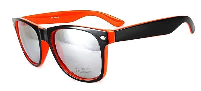 bc51723042f New Sunglasses Two tone reflective lenses Vintage Classic unisex frame UV400  (Black   Orange Frame