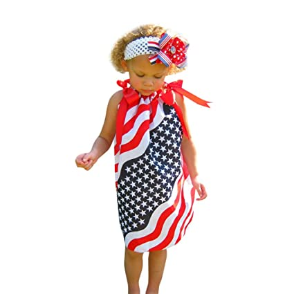 fab0a843d754 Amazon.com: EnjoCho 2019 New Summer Gril Dress Toddler Baby Girls Star Print  4th of July Bowknot Straps Dress Striped Clothes (Age:5-6 Years, Red):  Office ...