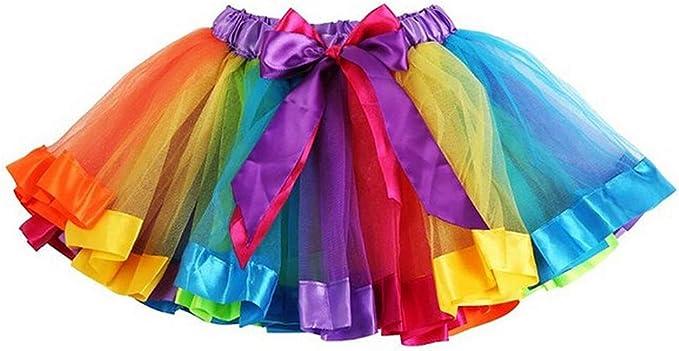 TopTie Girls Layered Rainbow Tutu Skirt Dance Dress Ruffle Tiered Clubwear-S