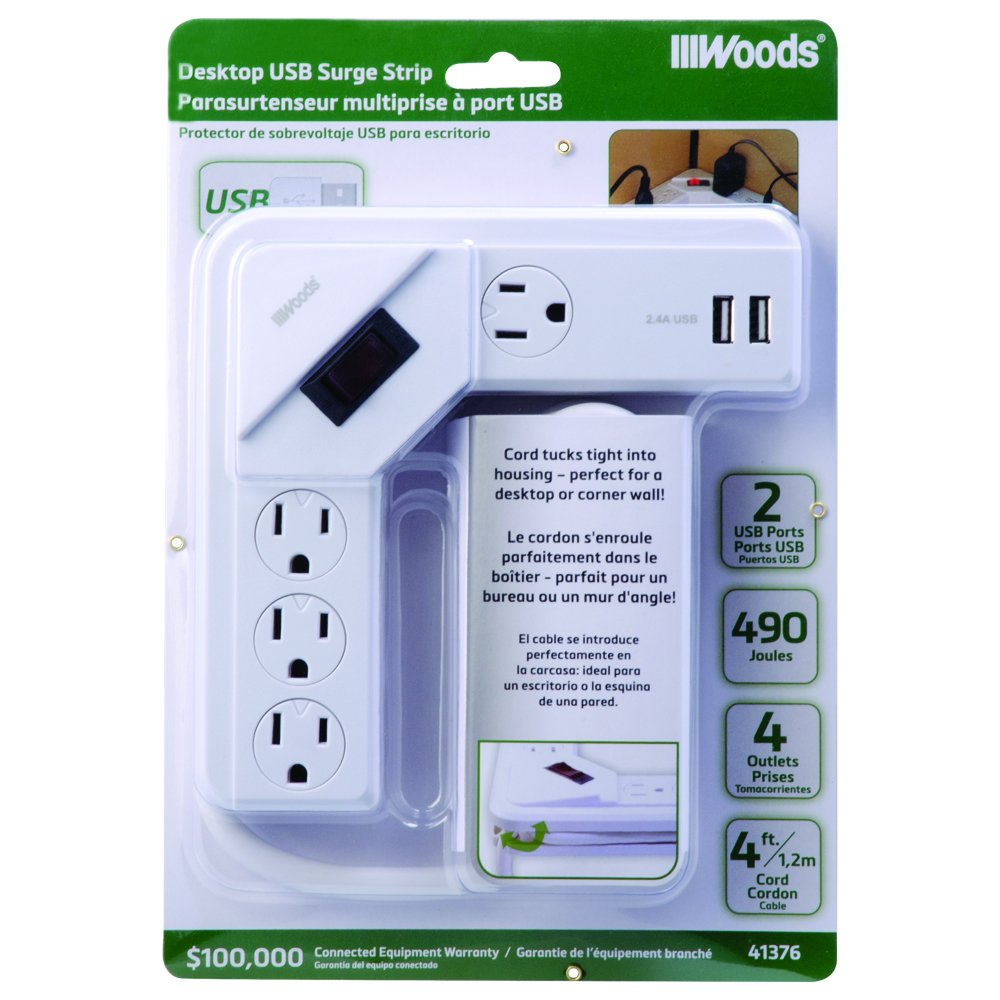 Woods 41376 4-Outlet Desktop Usb Corner Surge Strip 490 Joules, White,