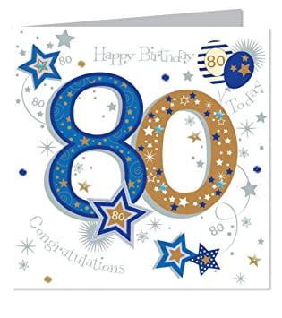 Large Luxury Handmade 80th Birthday Card