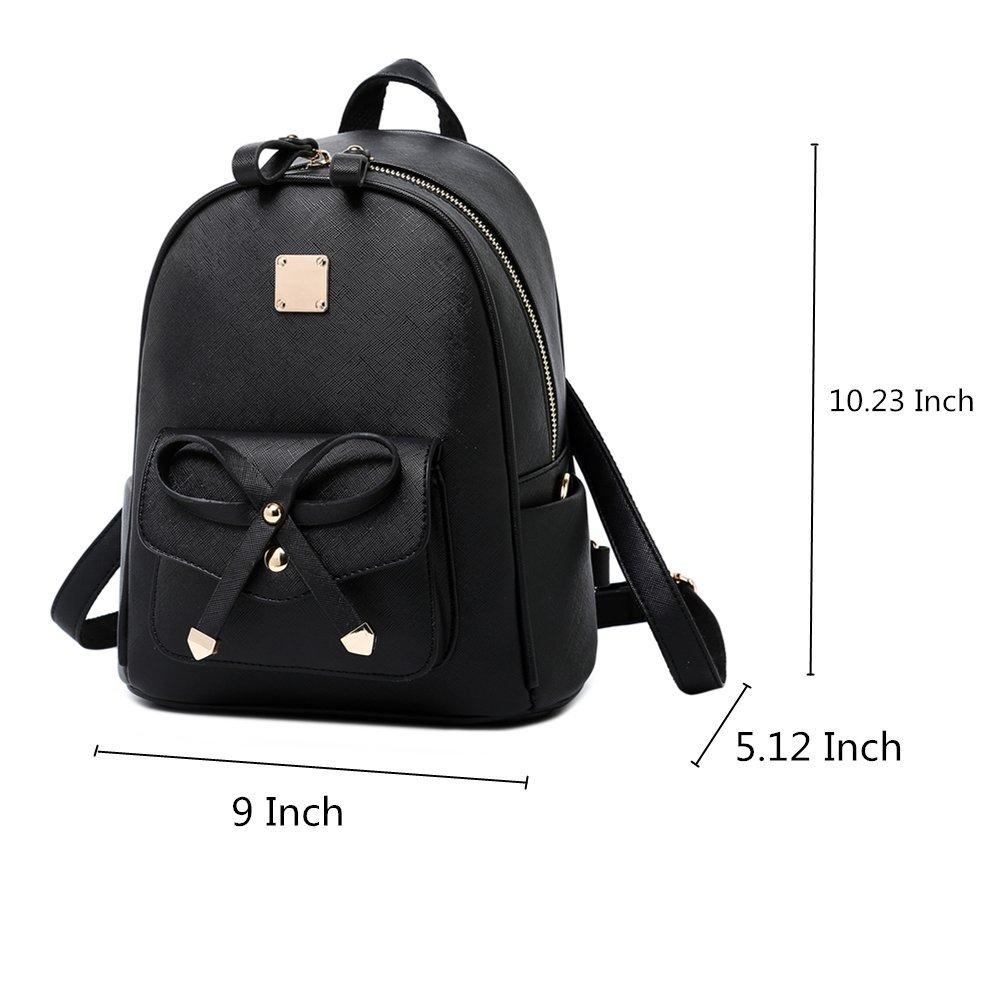 WINK KANGAROO Fashion Shoulder Bag Rucksack PU Leather Women Girls Ladies Backpack Travel bag (Black Small Size) by WINK KANGAROO (Image #2)