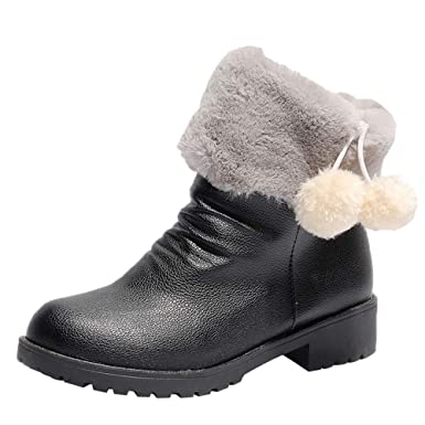 3805f5db34711 Amazon.com  Cywulin Women Fashion Fur Lined Ankle Bootie Ladies Retro  Leather Round Toe Soft Walking Short Boots Low Heel Slip On Shoes  Clothing