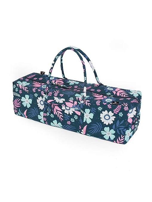 Yoga Studio Yoga Kit Bag - Bolsa de Yoga 71 x 23 x 18 cm, Bolsa de algodón para Esterilla de Yoga con Bolsillos de Almacenamiento, Cierre YKK, Flores ...