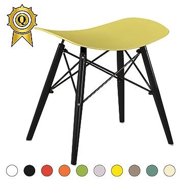 Agreable MOBISTYL 1 X Tabouret Design Inspiration Eiffel Pieds Bois Noir Assise Jaune  DTWB YE