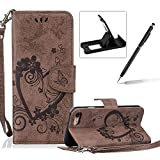 PU Leather Case For iPhone 7,Strap Magnetic Wallet Folio Cover for iPhone 7,Herzzer Elegant Slim Brown [Love Hearts Flower Embossed] Stand Phone Case