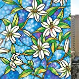 VEOLEY Static Cling Film Orchid Pattern Privacy Film Stained Glass ...