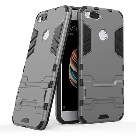 Ougger Fundas Compatible para Xiaomi Mi A1 (5X) Carcasa Cover, Protector Extrema Absorción de Impacto [Soporte de vídeo] Armor Cover Duro Plástico + ...