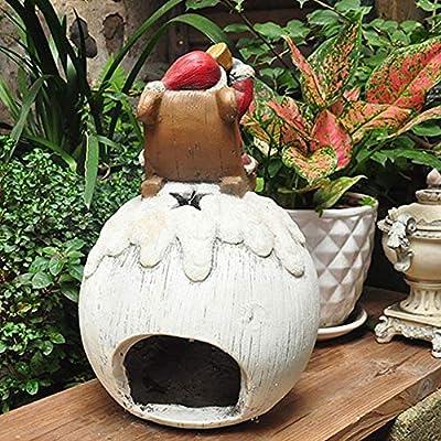 Decoraciones de jardín de estatua Al estilo europeo jardín Patio Decoración retro rural madera-como muñeco de nieve ornamentos de vela Titular Rojo L para la decoración de primavera al aire libre: Amazon.es: