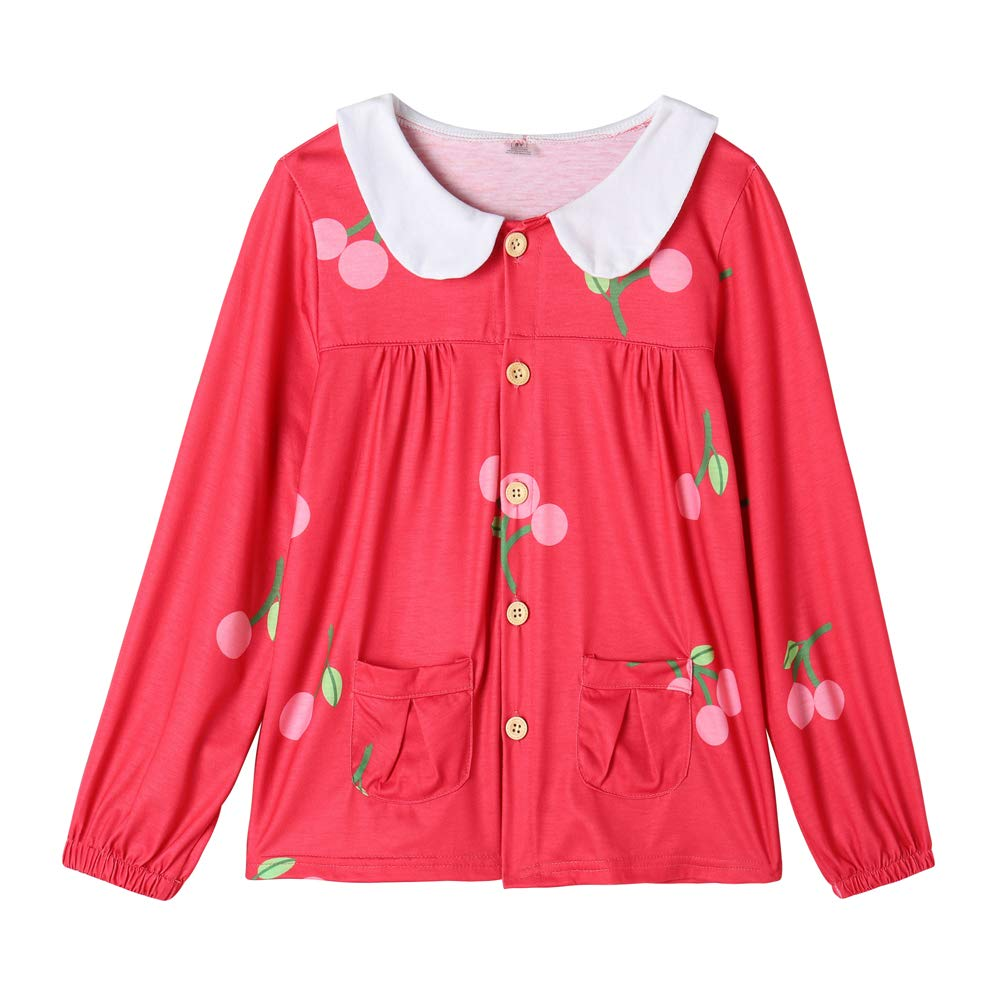 YUEXIN Big Girls Long Sleeve Peter Pan Collar Blouse Cherry Print Top Tee Shirt